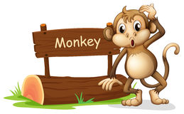 A monkey beside a sign board Stock Photo