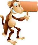 Monkey with sign Stock Photography
