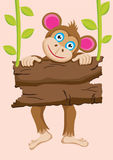 Monkey With Signboard Stock Photos