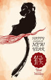 Monkey Silhouette on a Branch from Chinese Zodiac for New Year Poster, Vector Illustration royalty free stock images