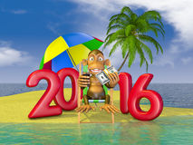 Monkey and 2016. A monkey sitting in a deck chair and volumetric figures 2016 on the island Royalty Free Stock Image