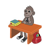 Monkey sitting at a table Stock Photo