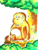 Monkey sitting under the tree painting. Background vector illustration