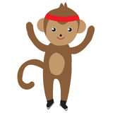 Monkey skating, figure skating, vector illustration Royalty Free Stock Images