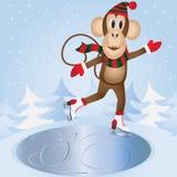 Monkey skating on ice Royalty Free Stock Image
