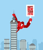 Monkey on skyscraper. King Kong holds a sign with new year. Huge Royalty Free Stock Photo