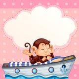 Monkey sleeping on the boat template Stock Illustration