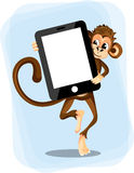 Monkey with a smartphone. For text stock illustration
