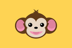Monkey smile close up face with yellow background. Vector Stock Photos