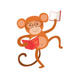 Monkey Smiling Bookworm Zoo Character Wearing Glasses And Reading A Book Cartoon Illustration Part Of Animals In Library. Collection. Flat Vector Drawing With vector illustration