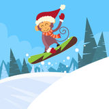 Monkey Snowboarder Sliding Down Hill, Winter Stock Photo