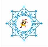 Monkey in Snowflake. Dancing Monkey   in blue Snowflake Royalty Free Stock Image