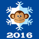 Monkey snowflake 2016. Royalty Free Stock Image