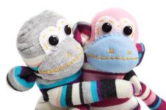 Monkey sock toy isolated on white Royalty Free Stock Photos
