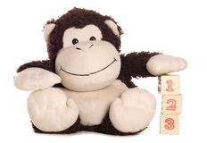 Monkey soft toy learning to count Stock Photos