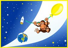 Monkey in space Royalty Free Stock Photo