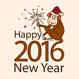 2016 Monkey with sparkler. 2016 Monkey wearing Santa's hat with sparkler Royalty Free Stock Photos