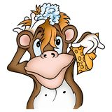 Monkey and sponge. High detailed and colored illustration Royalty Free Stock Images
