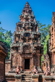 Monkey statues Banteay Srei hindu pink temple cambodia Stock Images