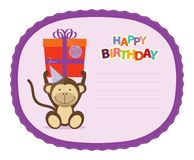 Monkey Sticker. Festive, cute and funny happy birthday sticker Royalty Free Stock Photography
