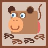 Monkey stylized cartoon icon. Monkey stylized cartoon animal icon. Baby style Stock Images