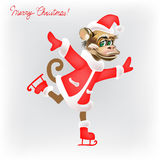 A monkey in a suit of Santa Claus skating isolated new year  Stock Photo