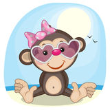 Monkey in sunglasses royalty free illustration