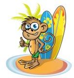 Monkey  surfer  cartoon Stock Image