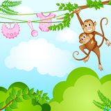 Monkey Swinging with Kid Stock Photo