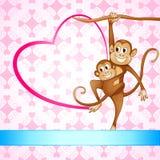 Monkey Swinging with Kid Stock Photo