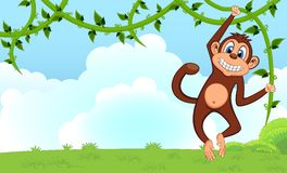 Monkey swinging on vines cartoon in a garden for your design. Colourful Royalty Free Stock Photography