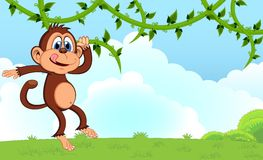 Monkey swinging on vines cartoon in a garden for your design Stock Photography