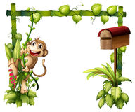 A monkey swinging beside a wooden mailbox Royalty Free Stock Photo