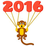 Monkey symbol of 2016 with balloons. And flat colors Stock Image
