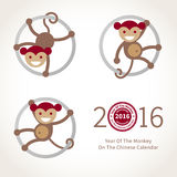 Monkey, symbol of 2016 in Chinese calendar. Symbol of 2016. Beige smiling Monkey clinging to a circle. Vector element for New Year's design in flat style Stock Images