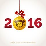 Monkey, symbol of 2016 in Chinese calendar. Symbol of 2016. Golden ball decorated Monkey head. Christmas-tree decoration with floral patterns. Vector element stock illustration
