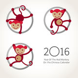 Monkey, symbol of 2016 in Chinese calendar. Symbol of 2016. Red smiling Monkey clinging to a circle. Vector decor for New Year's design in flat style Stock Illustration