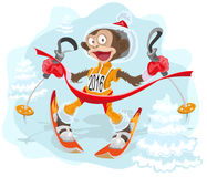 Monkey symbol 2016 goes skiing Royalty Free Stock Photos