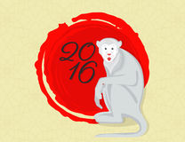 Monkey symbol. Gray amusing monkey with red textured circle and 2016 text Stock Photo