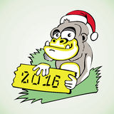 Monkey symbol of the new year on the grass in the. Hat of Santa Claus and a sign with the inscription 2016 year stock illustration