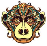 The monkey a symbol of New Year 2016. Patterned head of the monkey a symbol of New Year 2016 Royalty Free Stock Image