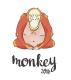 Monkey. Symbol of 2016. New years background. Monkey. Symbol of 2016. Vector illustration Stock Photos