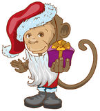 Monkey symbol 2016 in Santa hats holding gift box. Isolated illustration in vector format royalty free illustration