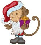 Monkey symbol 2016 in Santa hats holding gift box. Stock Images