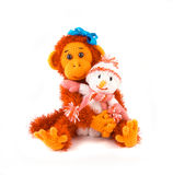 Monkey symbol 2016 with a snowman. Christmas charms.  Stock Photos