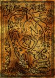 Monkey symbol with sword, books, baroque decorated tree and mystic signs on antique texture background Royalty Free Stock Photography