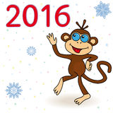 Monkey - the symbol of 2016. On a winter background with snowflakes, hand drawing cartoon vector illustration Royalty Free Stock Images