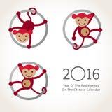 Monkey, symbole de 2016 dans le calendrier chinois illustration stock