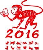 Monkey with symbols Chinese year. Monkey with 12 Chinese year horoscope symbol Stock Images