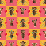 Monkey symmetry style seamless pattern Stock Photography